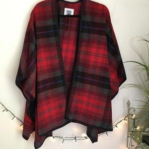 Old Navy Red Plaid Poncho Kimono Jacket Wrap